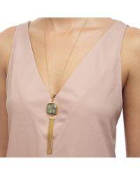 Ottoman Hands - Metallic Labradorite Stone And Chain Tassel Necklace - Lyst