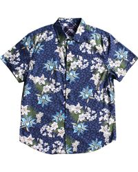 Lords of Harlech - Blue Floral Short Sleeve Button Down Shirt for Men - Lyst
