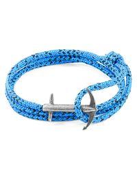 Anchor & Crew - Blue Noir Admiral Anchor Silver & Rope Bracelet - Lyst