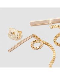 Alice Eden - Metallic Gold T Bar Drop Earrings - Lyst