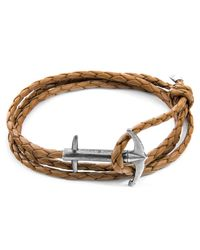 Anchor & Crew - Multicolor Light Brown Admiral Anchor Silver & Braided Leather Bracelet for Men - Lyst