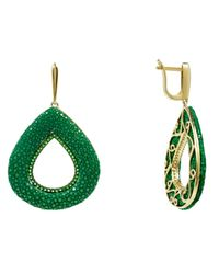 Latelita London - Stingray Hollow Teardrop Earring Emerald Green - Lyst
