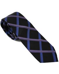 Lords of Harlech - Blue Geo Plaid Tie In Plum for Men - Lyst