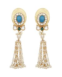 Carousel Jewels | Multicolor Turquoise & Pearl Statement Long Earrings | Lyst