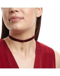 Ottoman Hands - Metallic Red Velvet Choker With A Gold Star Pendant - Lyst
