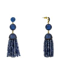 Latelita London - Blue Tassel Ball Earring Iolite Water Sapphire - Lyst