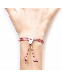 Anchor & Crew - Red Noir Union Silver & Rope Bracelet for Men - Lyst