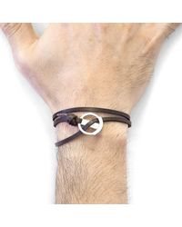Anchor & Crew - Metallic Dark Brown Ketch Anchor Silver & Flat Leather Bracelet for Men - Lyst