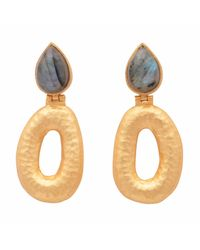 Carousel Jewels - Metallic Matte Gold Finish Labradorite Earrings - Lyst