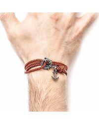 Anchor & Crew - Red Noir Clyde Silver & Rope Bracelet for Men - Lyst