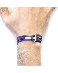 Anchor & Crew - Grape Purple Clipper Anchor Silver & Flat Leather Bracelet for Men - Lyst