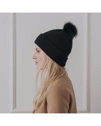 Alma Knitwear - Billy Merino Pom Hat Black - Lyst