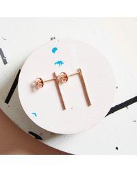 KIND Jewellery - Metallic Rose Gold Horizon Earrings - Lyst