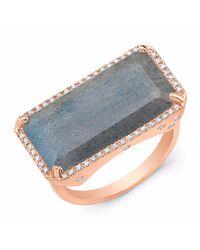 Anne Sisteron - Metallic Rose Gold Diamond Base Labradorite Ring - Lyst