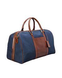 Maxwell Scott Bags - Blue Medium Navy Canvas & Tan Leather Luggage Bag Giovane M for Men - Lyst