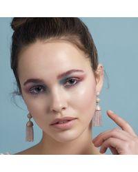 Latelita London - Pink Tassel Ball Earring Rose Quartz Rosegold - Lyst