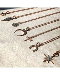 Latelita London - Metallic Diamond Lucky Horseshoe Necklace Rosegold - Lyst