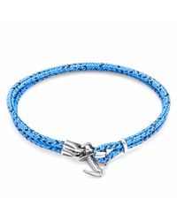 Anchor & Crew - Blue Noir Brighton Silver & Rope Bracelet for Men - Lyst