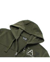 EA7 - Green Khaki Zip Through Hooded Sweatshirt for Men - Lyst