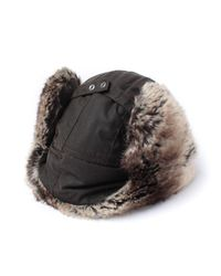Barbour - Hardwick Olive Green Fur Trim Trapper Hat for Men - Lyst