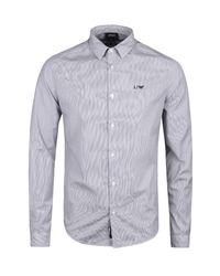 Armani Jeans - Fantasia Blue Stripe Italian Cotton Shirt for Men - Lyst