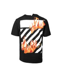 Off-White c/o Virgil Abloh - Black Diagonal Fire Hands T-shirt for Men - Lyst