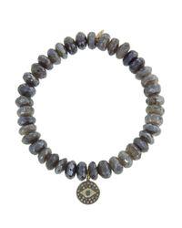 Sydney Evan - Multicolor Evil Eye Disc On Diamond Labradorite Beaded Bracelet - Lyst