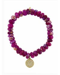 Sydney Evan - Multicolor Small Diamond Disc On Ruby Moonstone Beaded Bracelet - Lyst