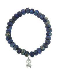 Sydney Evan - Blue Diamond Skull On Lapis Beaded Bracelet - Lyst