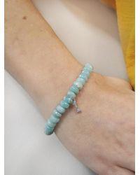 Sydney Evan - Blue Diamond Dog Bone Charm On Amazonite Beaded Bracelet - Lyst