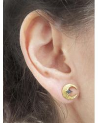 Cathy Waterman - Multicolor Blue Sapphire Crescent Moon Stud Earrings - Lyst