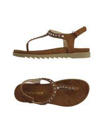 CafeNoir - Natural Toe Strap Sandal - Lyst