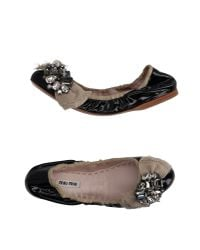 Miu Miu | Black Embellished Jacquard and Leather Ballerina Flats | Lyst