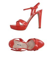 Miu Miu - Red Sandals - Lyst