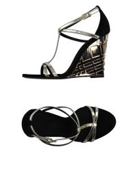 Burberry - Metallic Sandals - Lyst