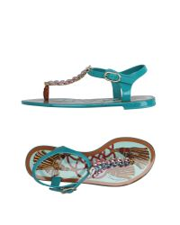 Dolce & Gabbana - Blue Toe Post Sandal - Lyst