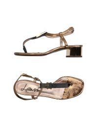 Lanvin - Black Toe Strap Sandal - Lyst