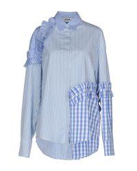 MSGM - Blue Shirt - Lyst