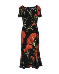 Dolce & Gabbana | Red Lace And Carnation-Print Brocade Dress | Lyst
