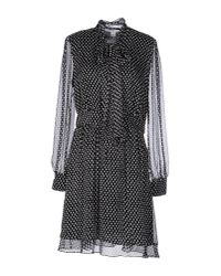 Diane von Furstenberg | Black Arabella Tie Neck Silk Dress | Lyst