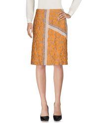 Prada - Orange Knee Length Skirt - Lyst