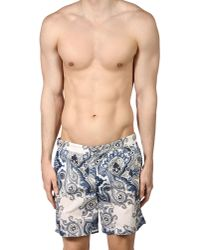 Robinson Les Bains - Blue Sorrento Paisley Swim Shorts for Men - Lyst