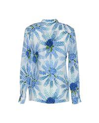 MSGM - Blue Printed Silk Crepe De Chine Blouse - Lyst
