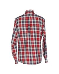 Armani Jeans | Red Classic Fit Button Down Check Shirt for Men | Lyst