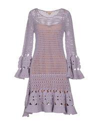 Michael Kors | Purple Crocheted Cashmere-blend Mini Dress | Lyst