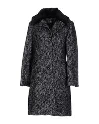 Halifax Traders Black Wool Coat With Detachable Faux Fur Collar