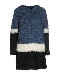 Shrimps | Blue Plum Colour-block Faux-fur Coat | Lyst
