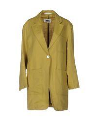 MM6 by Maison Martin Margiela - Green Overcoat - Lyst