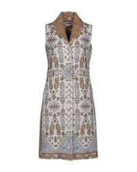 Tory Burch - Blue Jacquard Sleeveless Coat - Lyst