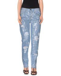 Pinko - Blue Denim Pants - Lyst